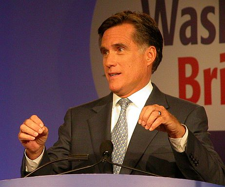 Romney speaking in October 2007 before the Values Voter Summit in Washington, D.C.   c.berlet/publiceye.org