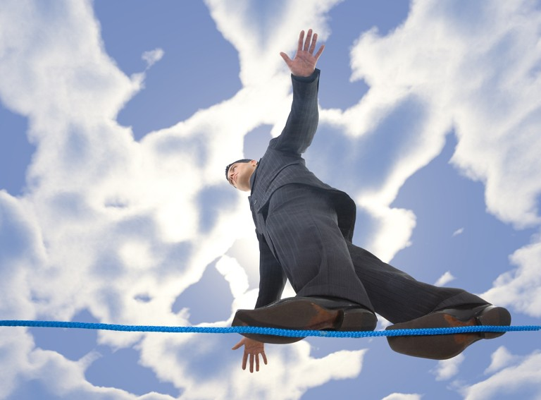 This young man on a tightrope illustrates the risks to relationships leaders experience when they make decisions. With online learning and coaching allow Leadership Options to help you avoid those risks.