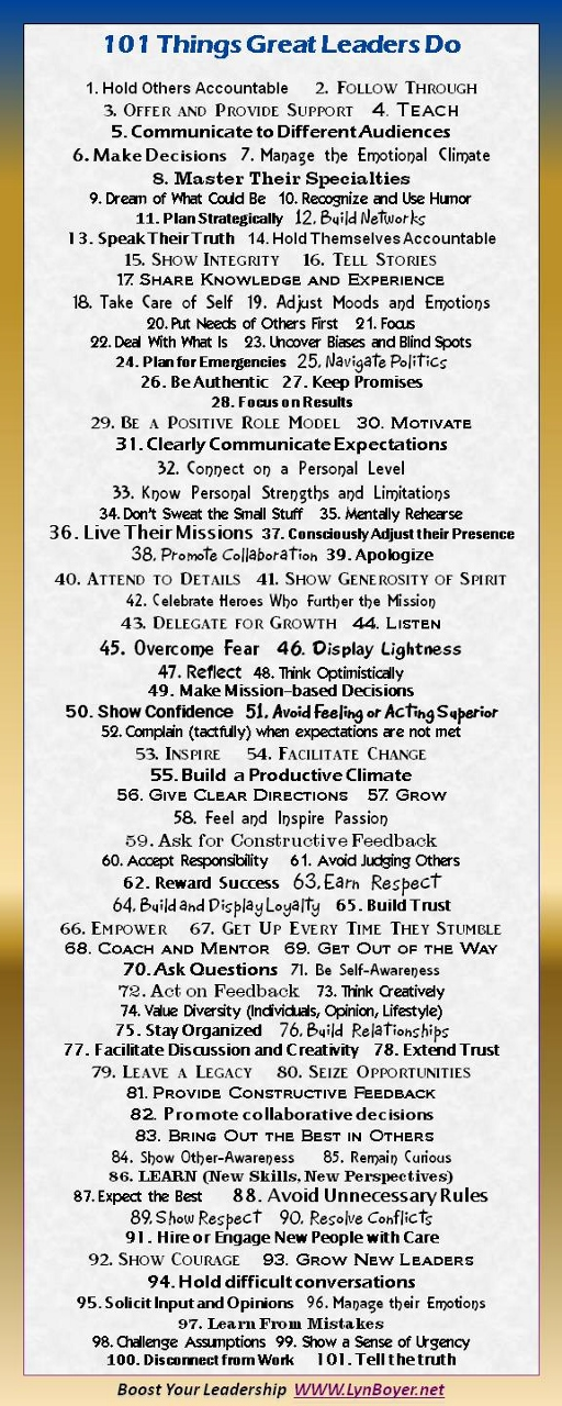 101 Things Great Leaders Do